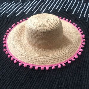 Hat Attack Pom Pom Straw Hat
